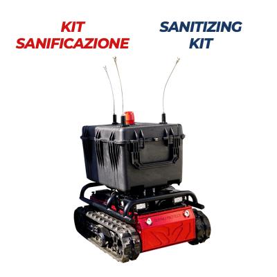 Robot con kit sanificazione vigili del fuoco